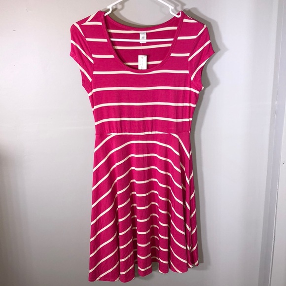 4ec15eba3a9 NWT Old Navy Pink White Striped Shift Dress Cute!
